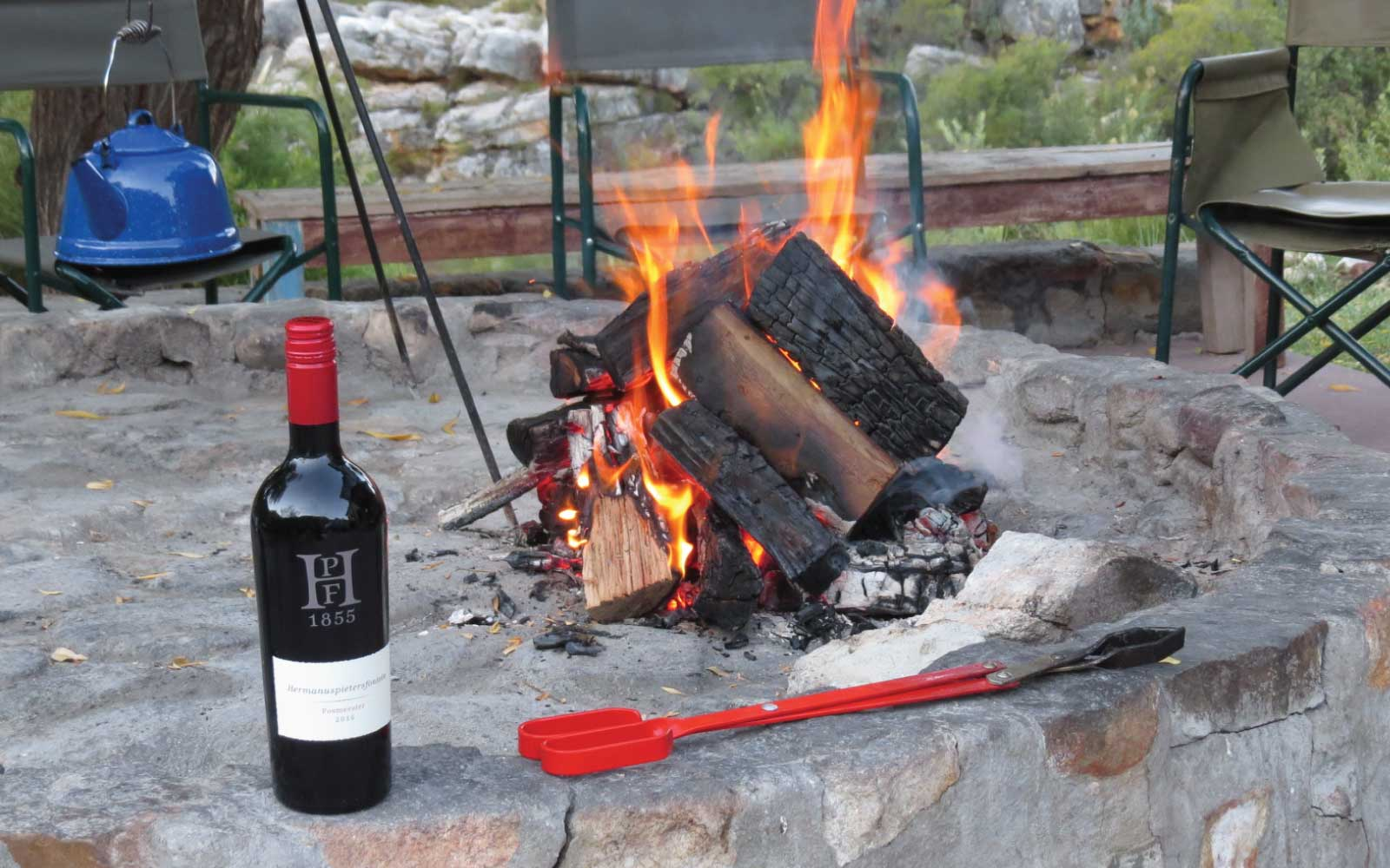 Fire pit and good wine